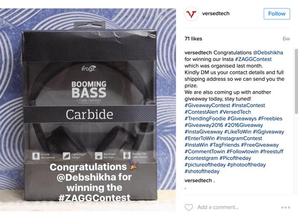 Concurso no Instagram