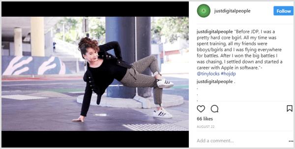 Instagram post conta exemplo de história