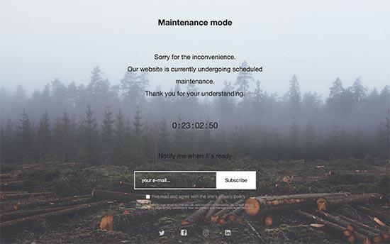 site em manutenção wordpress