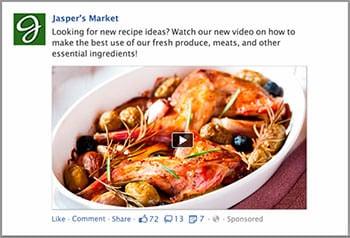 Tipos de anúncios em vídeo de postagem na página