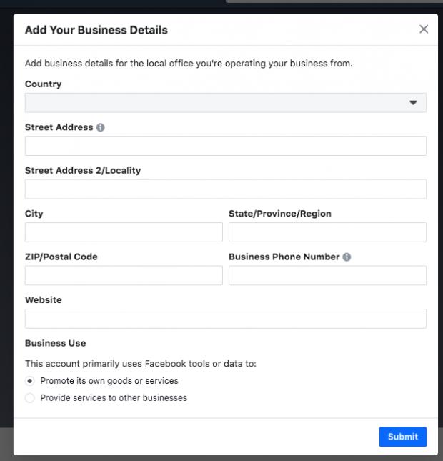 Gerenciador de negócios Facebook