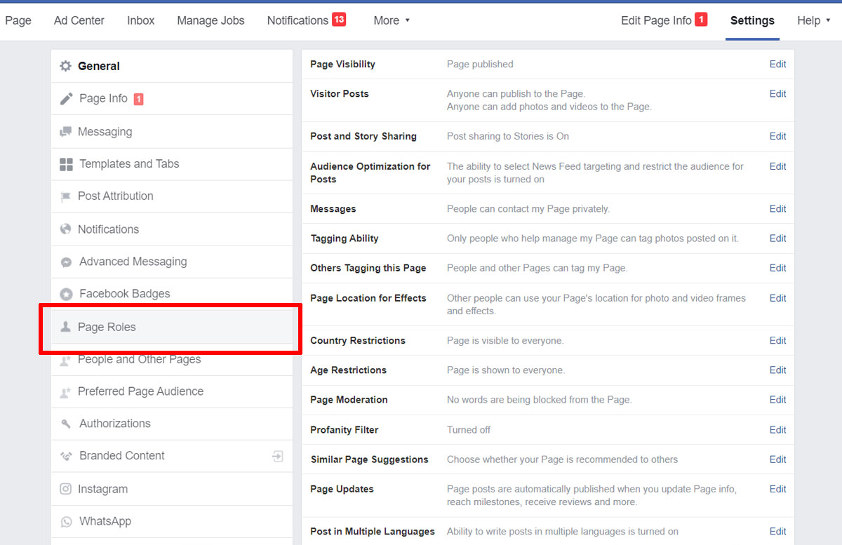 como colocar administrador na pagina do facebook