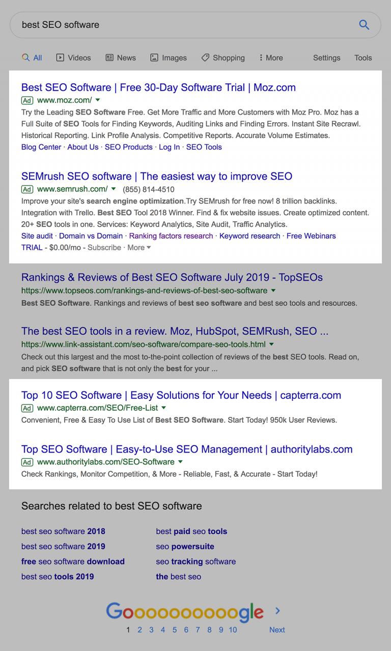 Anúncios na parte superior e inferior da página SERPs