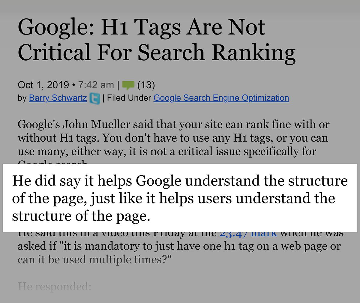 Google em tags H1 para classificações