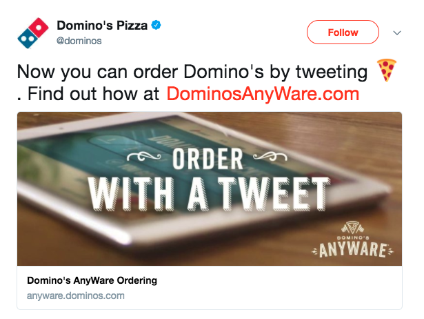 tuíte do chatbot do dominos