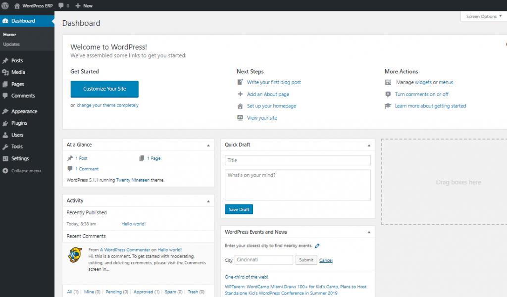 painel de back-end - Como instalar o WordPress no localhost