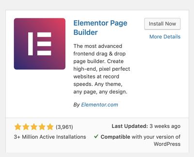 como instalar o Elementor no painel do WordPress