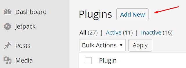 adicionar novo plugin no WordPress
