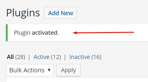 plugin ativado