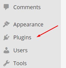 Menu de plug-ins do WordPress
