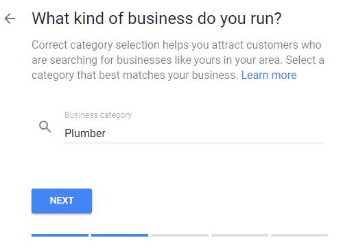 Google minha empresa - categoria de negócios - seo local