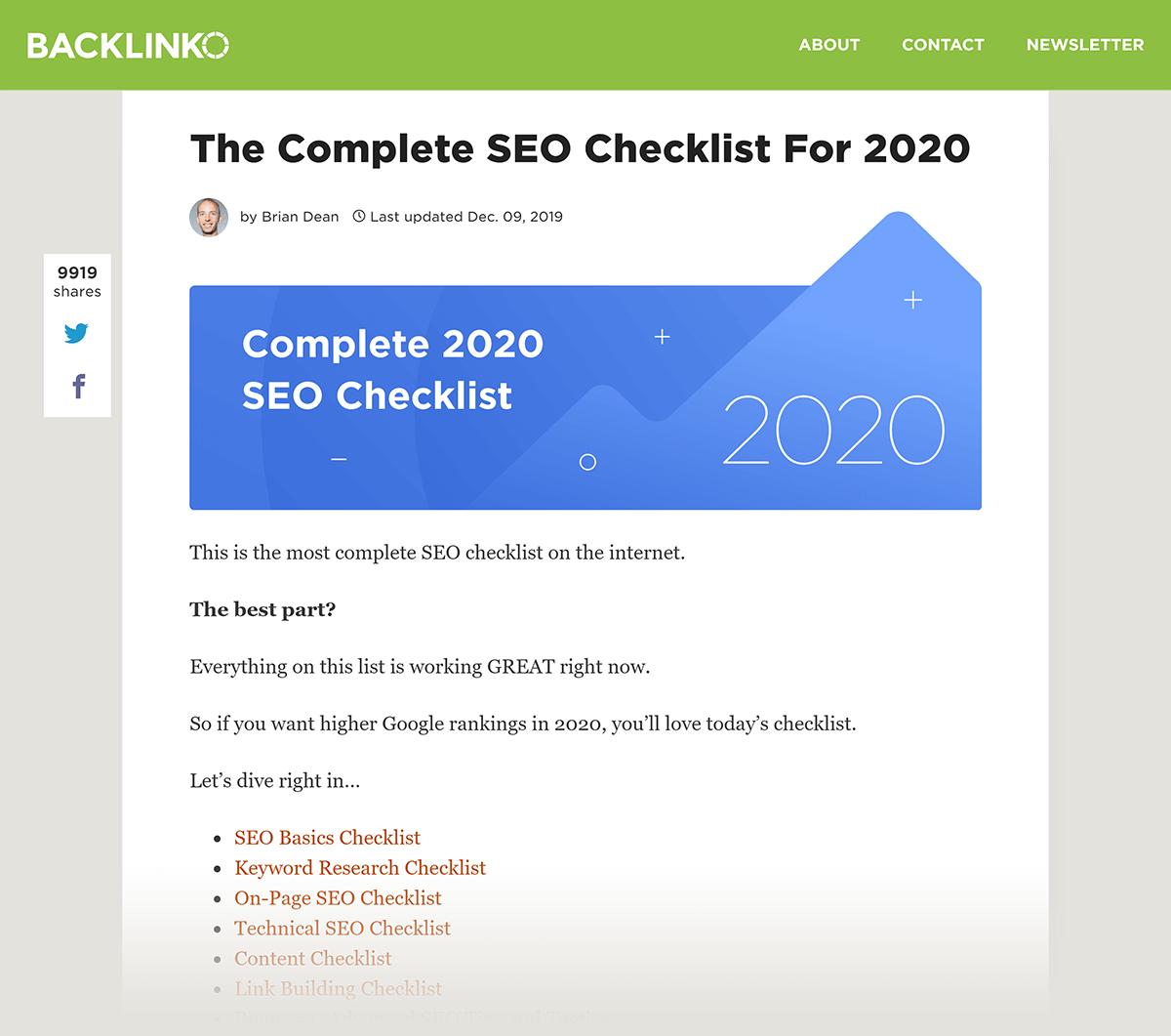 Postagem da Backlinko SEO Checklist