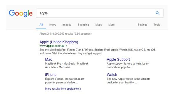 Sitelinks Apple